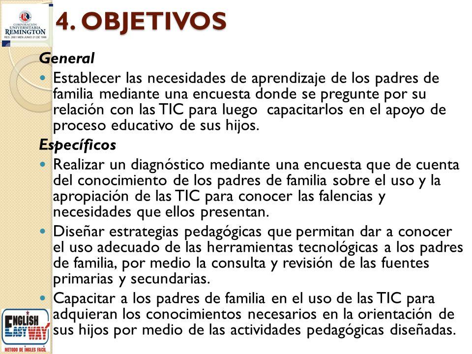 4. OBJETIVOS General Establecer las necesidades de aprendizaje de los padres de familia mediante una encuesta donde se pregunte por su relación con la