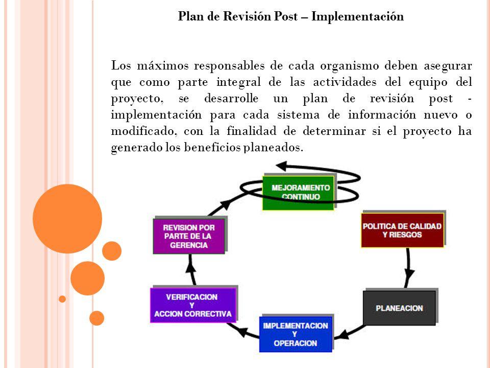 Plan de Revisión Post – Implementación Los máximos responsables de cada organismo deben asegurar que como parte integral de las actividades del equipo