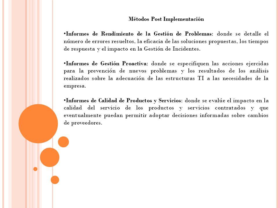 Métodos Post Implementación Informes de Rendimiento de la Gestión de Problemas: donde se detalle el número de errores resueltos, la eficacia de las so