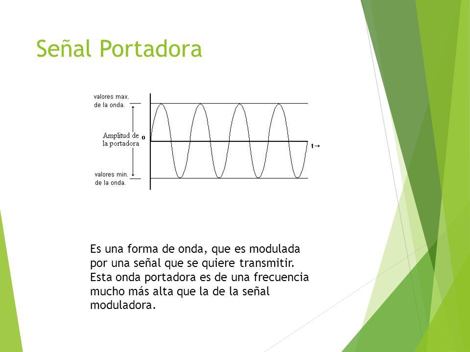 Señal Portadora Es una forma de onda, que es modulada por una señal que se quiere transmitir. Esta onda portadora es de una frecuencia mucho más alta