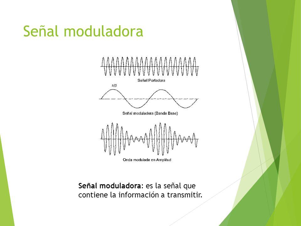 Señal moduladora Señal moduladora: es la señal que contiene la información a transmitir.