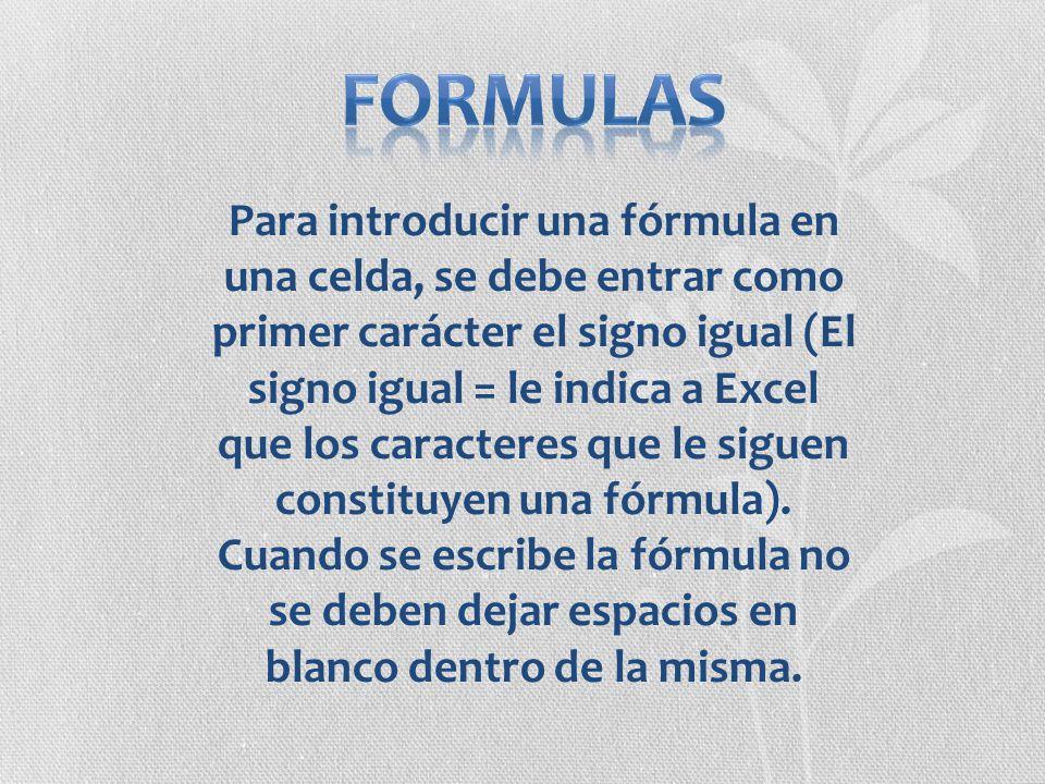 Para introducir una fórmula en una celda, se debe entrar como primer carácter el signo igual (El signo igual = le indica a Excel que los caracteres qu