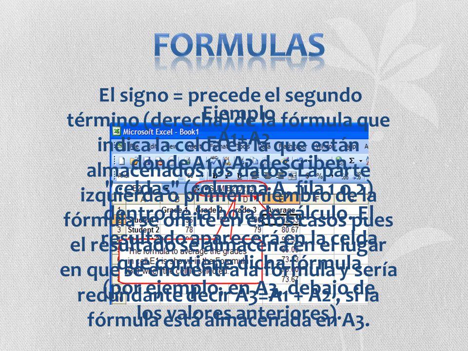 Ejemplo =A1+A2 donde A1 y A2 describen