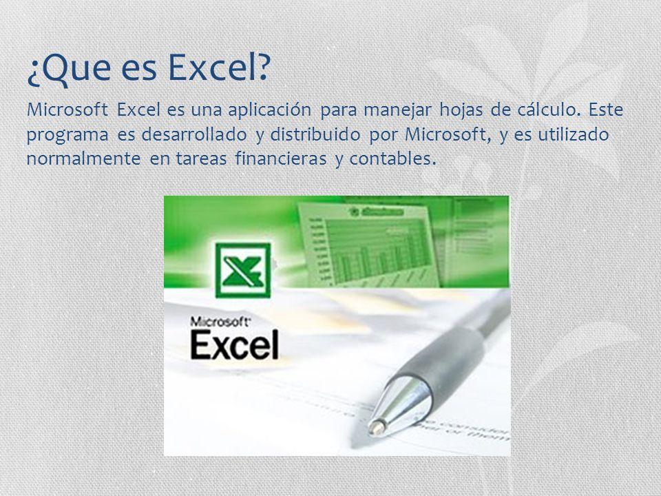 ¿Que es Excel? Microsoft Excel es una aplicación para manejar hojas de cálculo. Este programa es desarrollado y distribuido por Microsoft, y es utiliz
