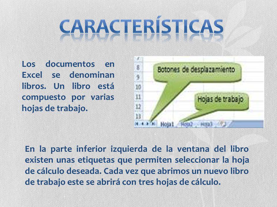 Los documentos en Excel se denominan libros. Un libro está compuesto por varias hojas de trabajo. En la parte inferior izquierda de la ventana del lib