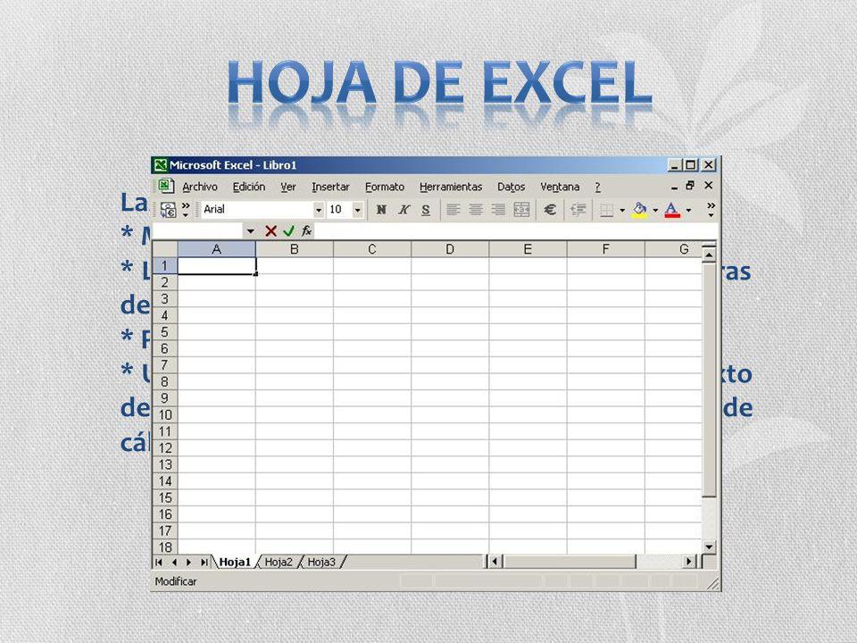 Las hojas de Excel constan de: * Máximo de 65.536 filas. * Las columnas están ordenadas en forma de letras de la A hasta la IV (256 columnas). * Permi