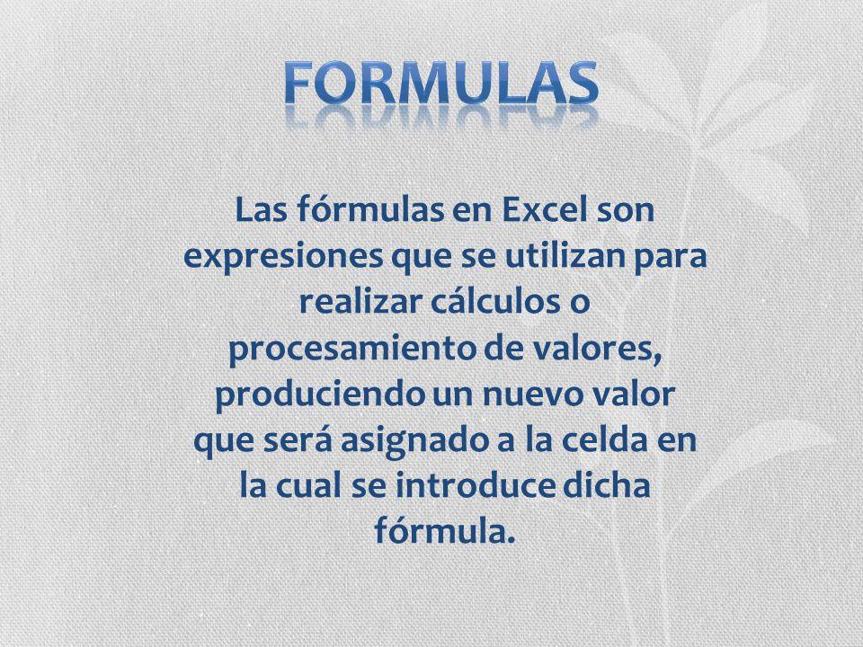 Las fórmulas en Excel son expresiones que se utilizan para realizar cálculos o procesamiento de valores, produciendo un nuevo valor que será asignado