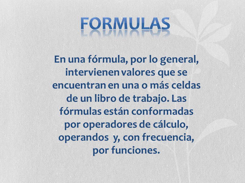 En una fórmula, por lo general, intervienen valores que se encuentran en una o más celdas de un libro de trabajo. Las fórmulas están conformadas por o