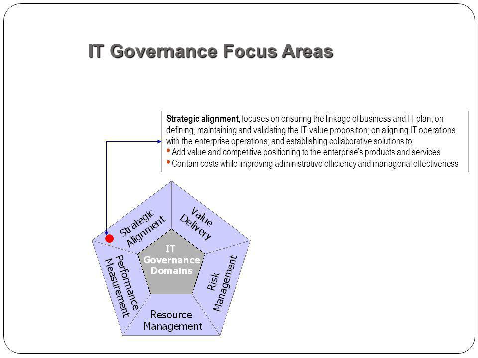 Strategic alignment, focuses on ensuring the linkage of business and IT plan; on defining, maintaining and validating the IT value proposition; on aligning IT operations with the enterprise operations; and establishing collaborative solutions to Add value and competitive positioning to the enterprises products and services Contain costs while improving administrative efficiency and managerial effectiveness IT Governance Focus Areas