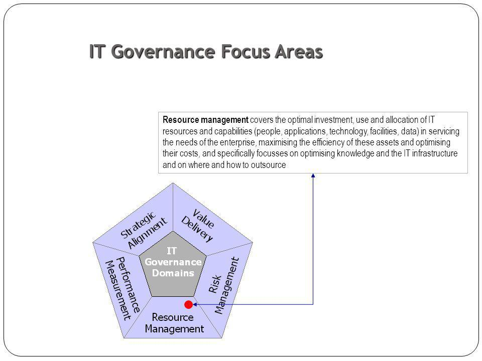 Resource management covers the optimal investment, use and allocation of IT resources and capabilities (people, applications, technology, facilities, data) in servicing the needs of the enterprise, maximising the efficiency of these assets and optimising their costs, and specifically focusses on optimising knowledge and the IT infrastructure and on where and how to outsource IT Governance Focus Areas