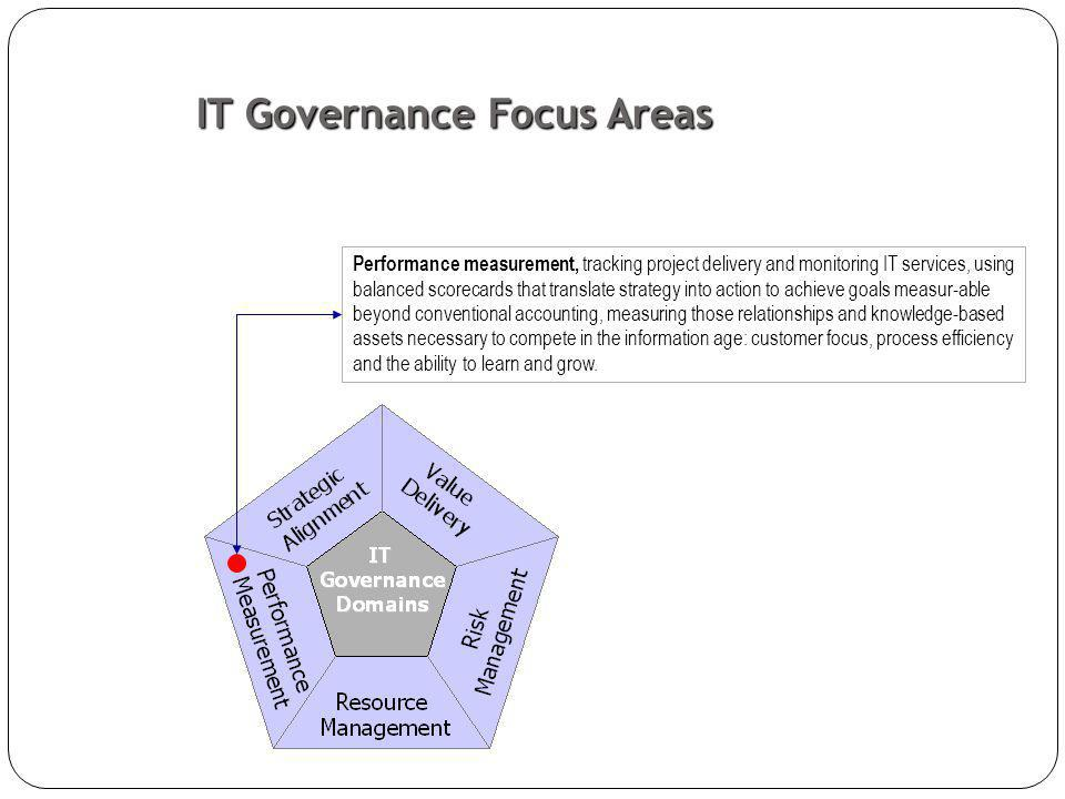 Performance measurement, tracking project delivery and monitoring IT services, using balanced scorecards that translate strategy into action to achieve goals measur-able beyond conventional accounting, measuring those relationships and knowledge-based assets necessary to compete in the information age: customer focus, process efficiency and the ability to learn and grow.