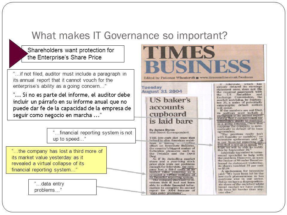 20 Un tema general de IT Governance se refiere a que las capacidades de TI ya no puede ser algo que los que administran el negocio no entiendan y que también TI debe entender el negocio y sus necesidades.