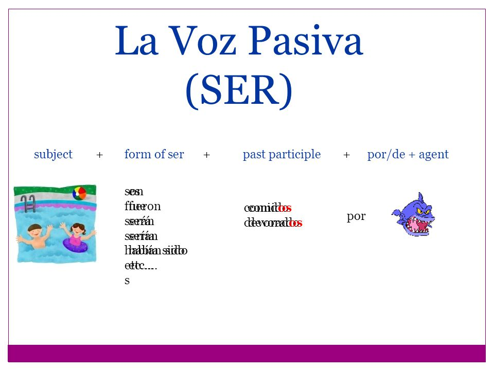 La Voz Pasiva (SER) If the past participle expresses feeling or emotion, rather than action, por is replaced by de.