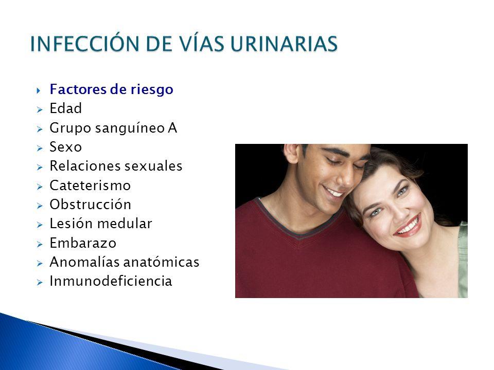 Factores de riesgo Edad Grupo sanguíneo A Sexo Relaciones sexuales Cateterismo Obstrucción Lesión medular Embarazo Anomalías anatómicas Inmunodeficiencia