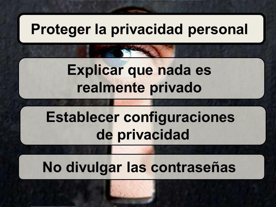 Explicar que nada es realmente privado Establecer configuraciones de privacidad No divulgar las contraseñas Proteger la privacidad personal