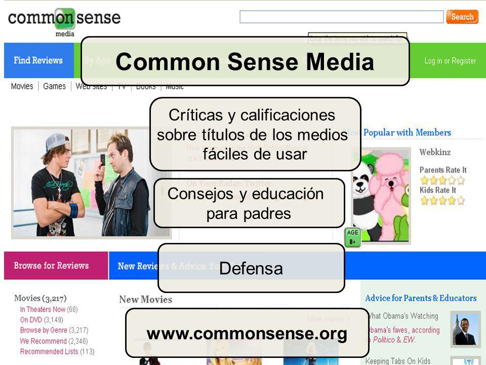 Críticas y calificaciones sobre títulos de los medios fáciles de usar Consejos y educación para padres Common Sense Media Defensa www.commonsense.org