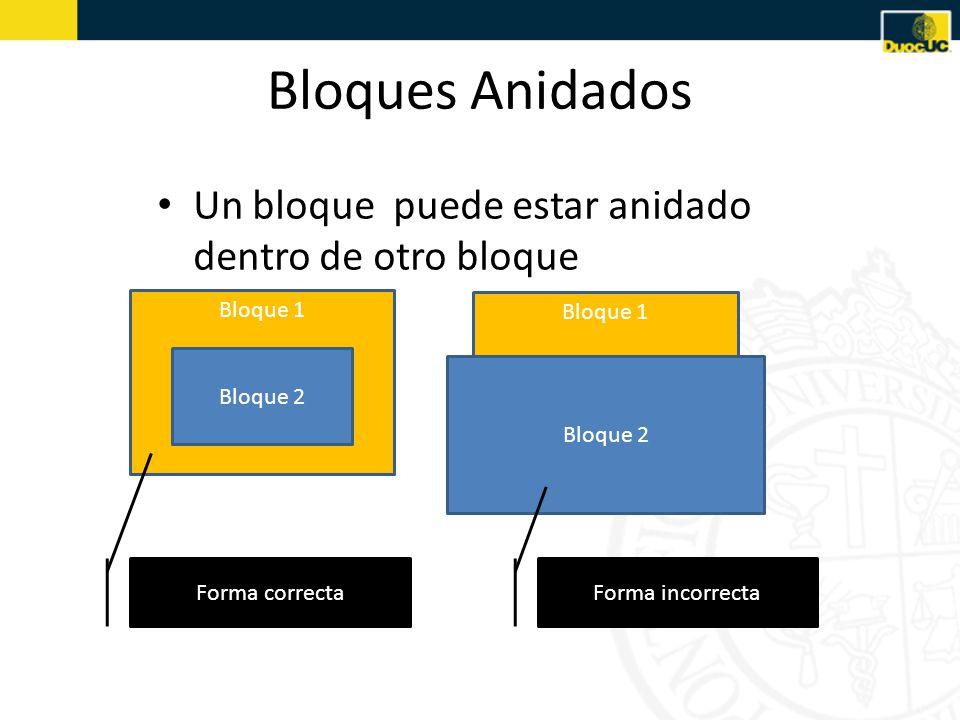 Bloques Anidados Un bloque puede estar anidado dentro de otro bloque Bloque 1 Bloque 2 Bloque 1 Bloque 2 Forma correcta Forma incorrecta