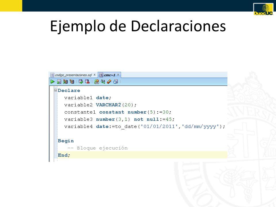 Ejemplo de Declaraciones