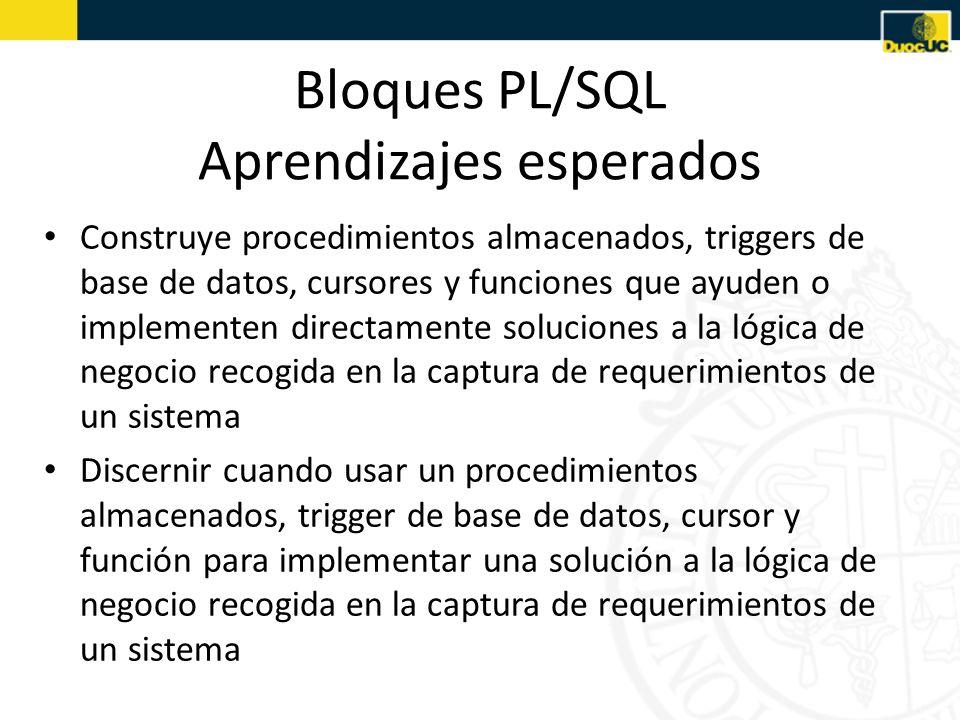 Bloques PL/SQL Aprendizajes esperados Construye procedimientos almacenados, triggers de base de datos, cursores y funciones que ayuden o implementen directamente soluciones a la lógica de negocio recogida en la captura de requerimientos de un sistema Discernir cuando usar un procedimientos almacenados, trigger de base de datos, cursor y función para implementar una solución a la lógica de negocio recogida en la captura de requerimientos de un sistema