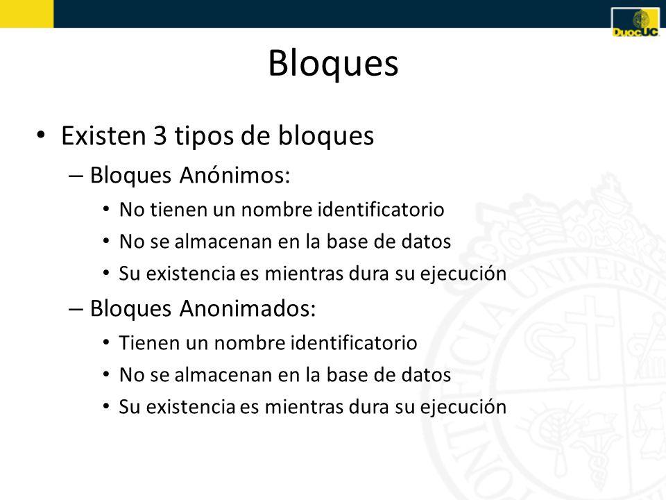Bloques Existen 3 tipos de bloques – Bloques Anónimos: No tienen un nombre identificatorio No se almacenan en la base de datos Su existencia es mientras dura su ejecución – Bloques Anonimados: Tienen un nombre identificatorio No se almacenan en la base de datos Su existencia es mientras dura su ejecución