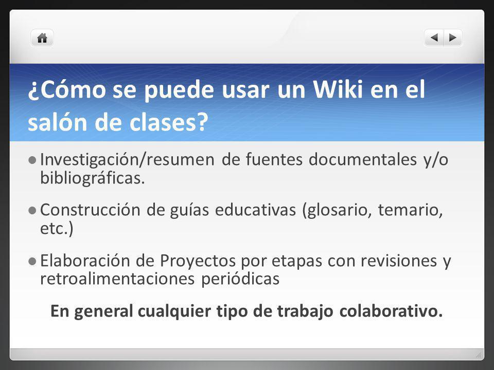 ¿Cómo se puede usar un Wiki en el salón de clases.