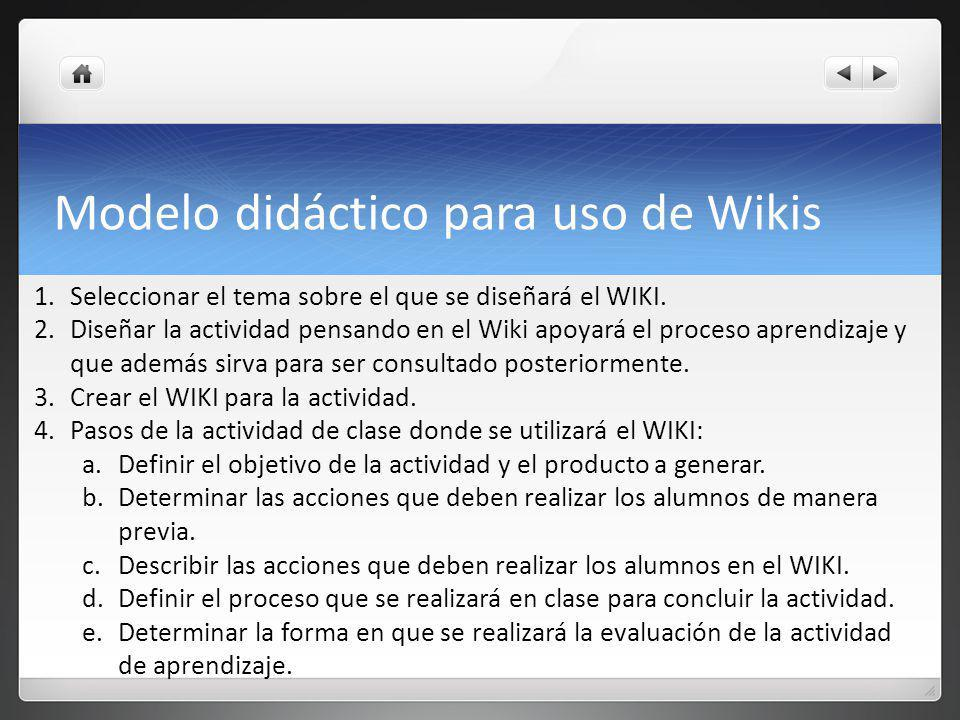 Modelo didáctico para uso de Wikis 1.Seleccionar el tema sobre el que se diseñará el WIKI.