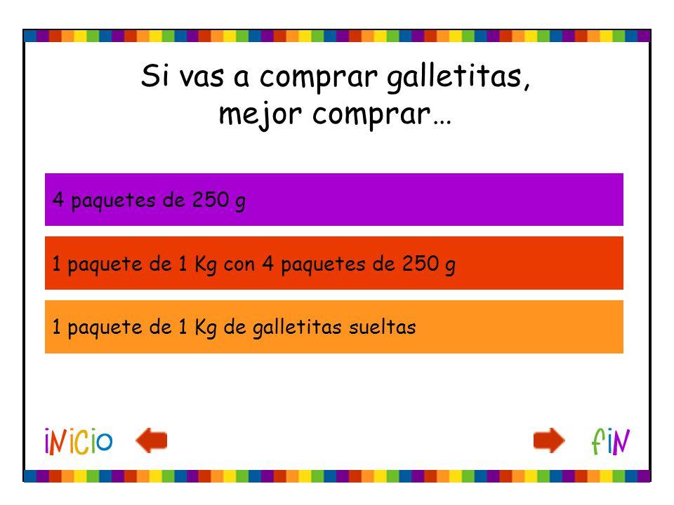 Si vas a comprar galletitas, mejor comprar… 4 paquetes de 250 g 1 paquete de 1 Kg con 4 paquetes de 250 g 1 paquete de 1 Kg de galletitas sueltas