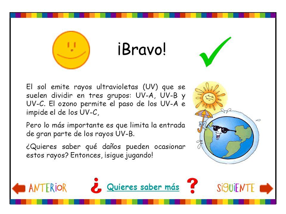 ¡Bravo! El sol emite rayos ultravioletas (UV) que se suelen dividir en tres grupos: UV-A, UV-B y UV-C. El ozono permite el paso de los UV-A e impide e