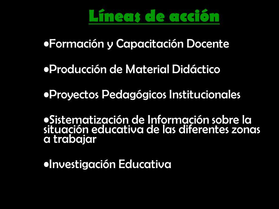 Líneas de acción Formación y Capacitación Docente Producción de Material Didáctico Proyectos Pedagógicos Institucionales Sistematización de Informació
