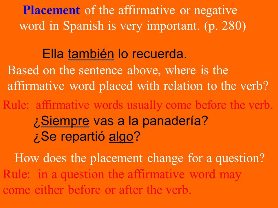 Placement of the affirmative or negative word in Spanish is very important.