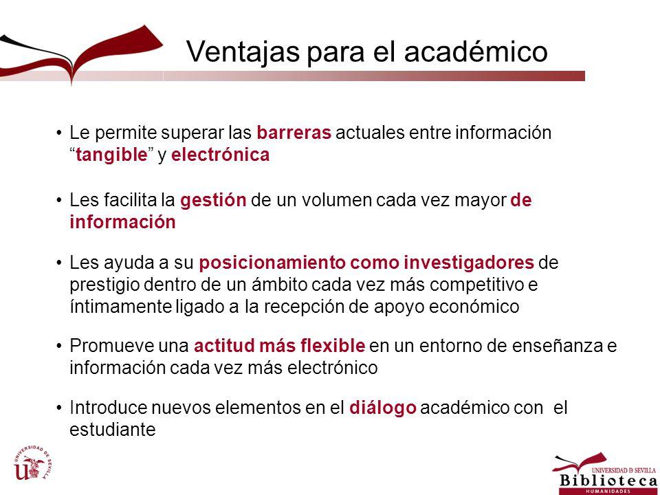 Ventajas para el académico Le permite superar las barreras actuales entre informacióntangible y electrónica Les ayuda a su posicionamiento como invest