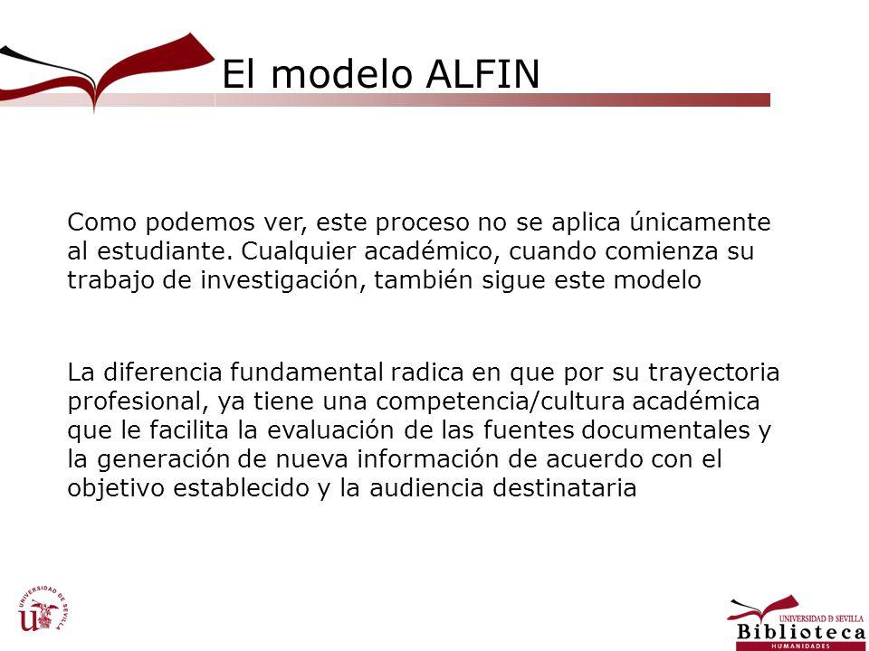 El modelo ALFIN Como podemos ver, este proceso no se aplica únicamente al estudiante. Cualquier académico, cuando comienza su trabajo de investigación