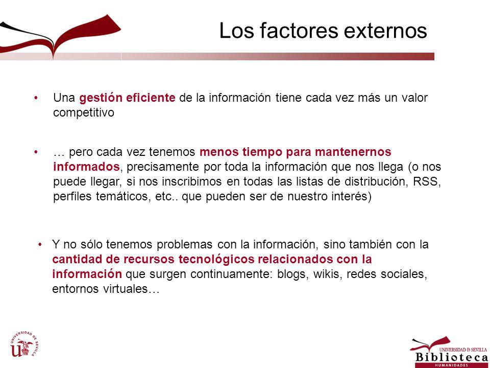 Los factores externos Una gestión eficiente de la información tiene cada vez más un valor competitivo … pero cada vez tenemos menos tiempo para manten