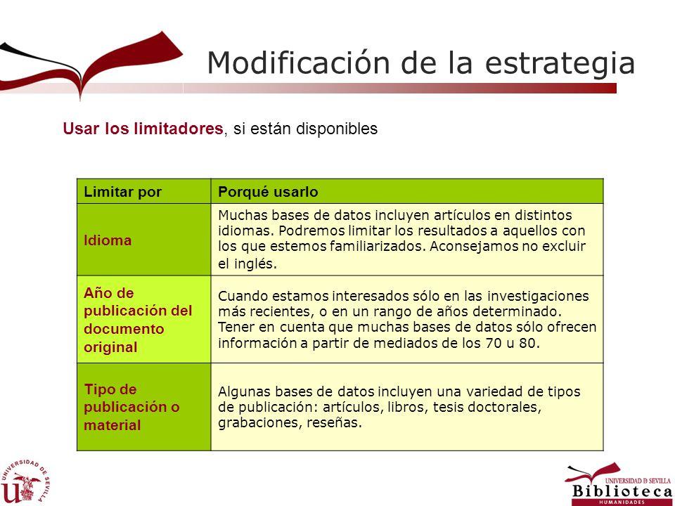 Modificación de la estrategia Usar los limitadores, si están disponibles Limitar porPorqué usarlo Idioma Muchas bases de datos incluyen artículos en distintos idiomas.
