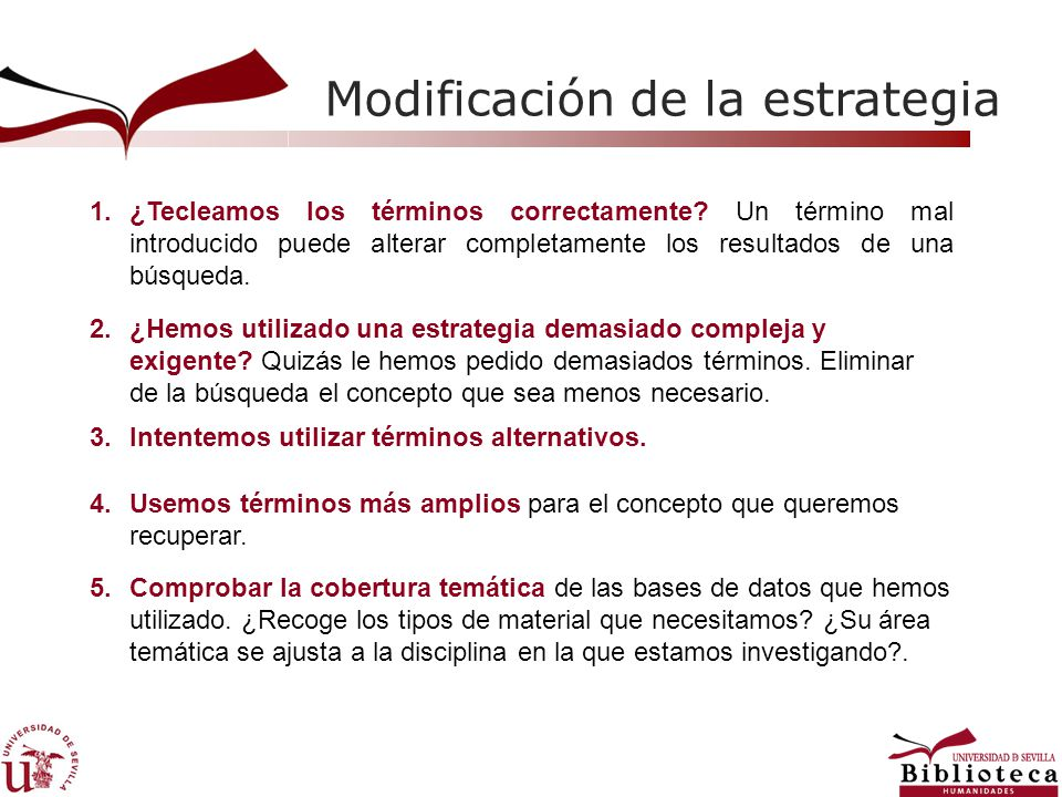 Modificación de la estrategia 1.¿Tecleamos los términos correctamente? Un término mal introducido puede alterar completamente los resultados de una bú