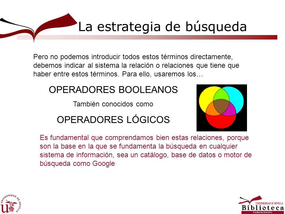 La estrategia de búsqueda OPERADORES BOOLEANOS También conocidos como OPERADORES LÓGICOS Pero no podemos introducir todos estos términos directamente,