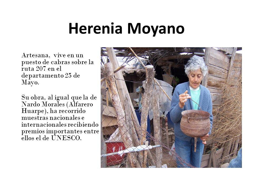 Herenia Moyano Artesana, vive en un puesto de cabras sobre la ruta 207 en el departamento 25 de Mayo. Su obra, al igual que la de Nardo Morales (Alfar