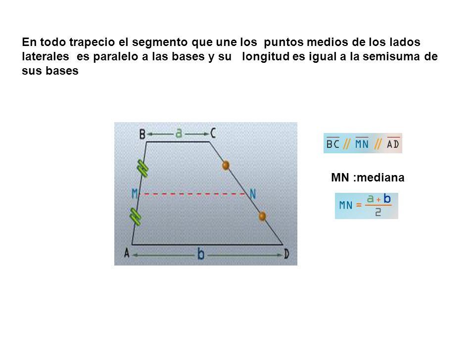 En todo trapecio el segmento que une los puntos medios de los lados laterales es paralelo a las bases y su longitud es igual a la semisuma de sus bases MN :mediana