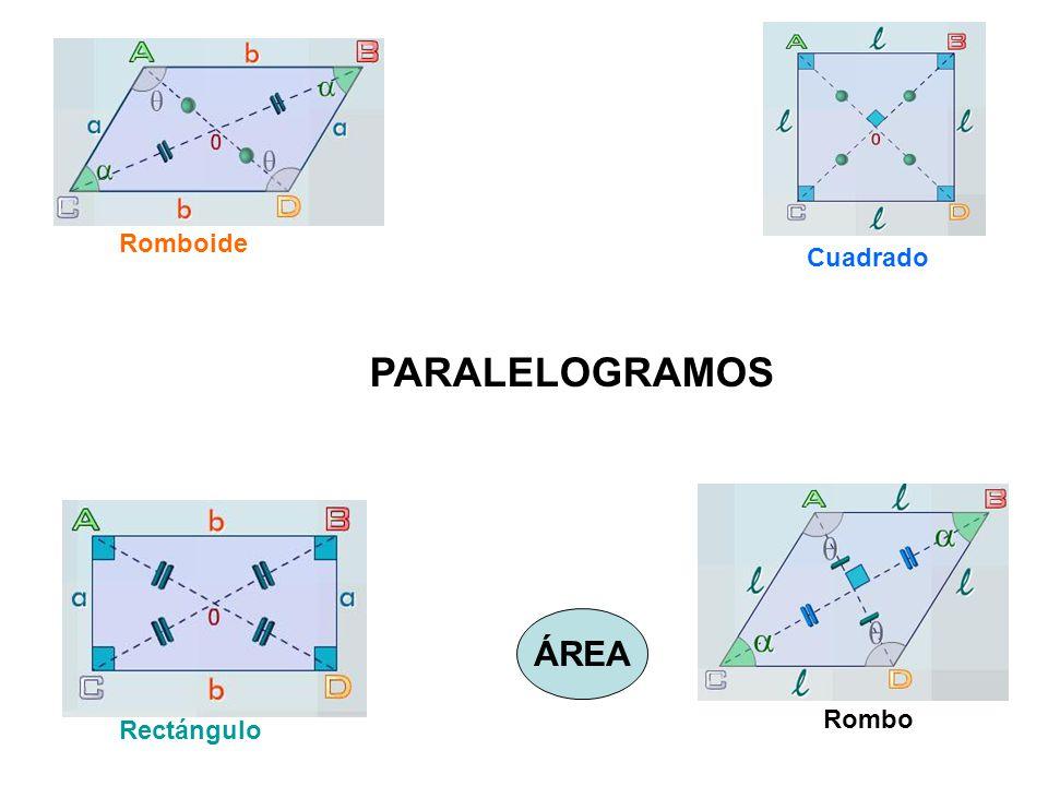 PARALELOGRAMOS Romboide Cuadrado Rectángulo Rombo ÁREA