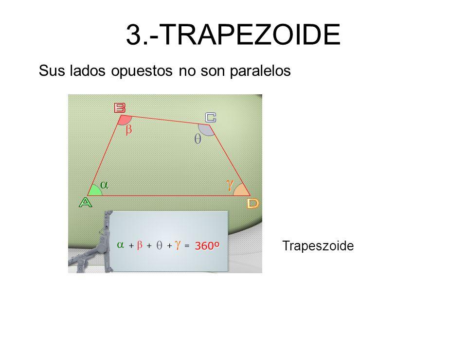 3.-TRAPEZOIDE Sus lados opuestos no son paralelos Trapeszoide