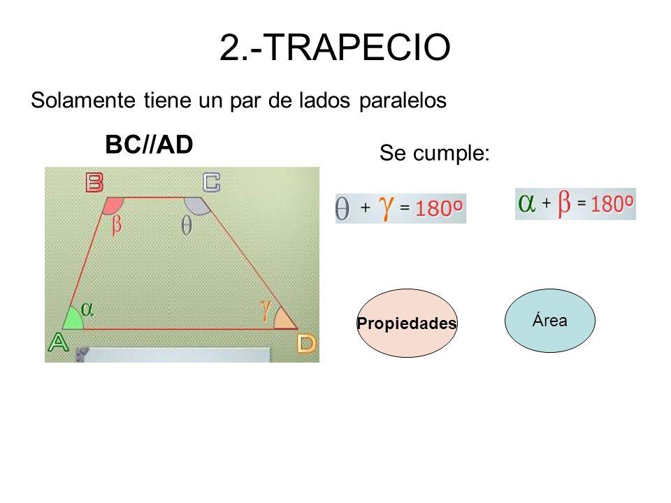 2.-TRAPECIO Solamente tiene un par de lados paralelos BC//AD Se cumple: Propiedades Área