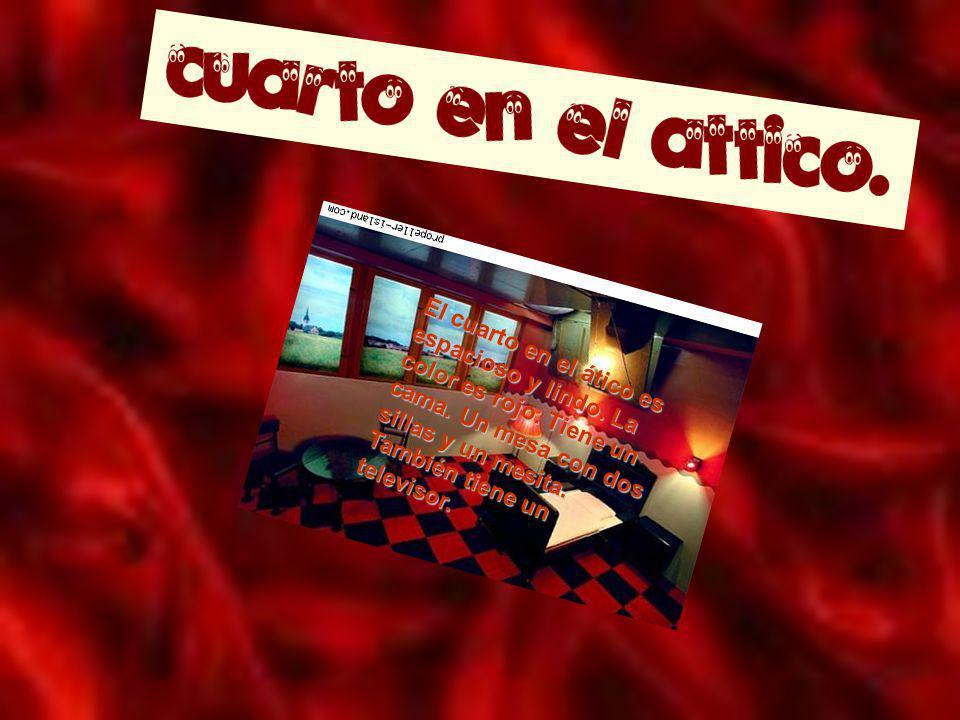 El cuarto en el ático es espacioso y lindo. La color es rojo. Tiene un cama. Un mesa con dos sillas y un mesita. También tiene un televisor.