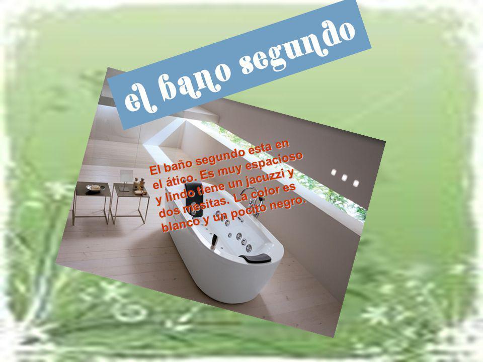 El baño segundo esta en el ático. Es muy espacioso y lindo tiene un jacuzzi y dos mesitas. La color es blanco y un pocito negro.