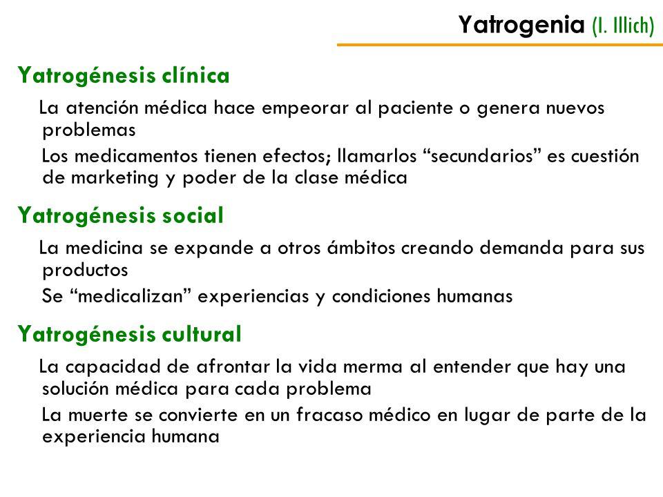Yatrogenia (I. Illich) Yatrogénesis clínica La atención médica hace empeorar al paciente o genera nuevos problemas Los medicamentos tienen efectos; ll