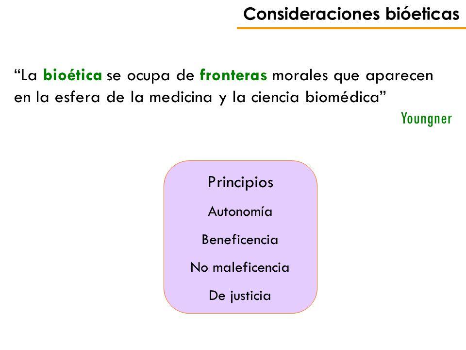 Consideraciones bióeticas La bioética se ocupa de fronteras morales que aparecen en la esfera de la medicina y la ciencia biomédica Youngner Principio