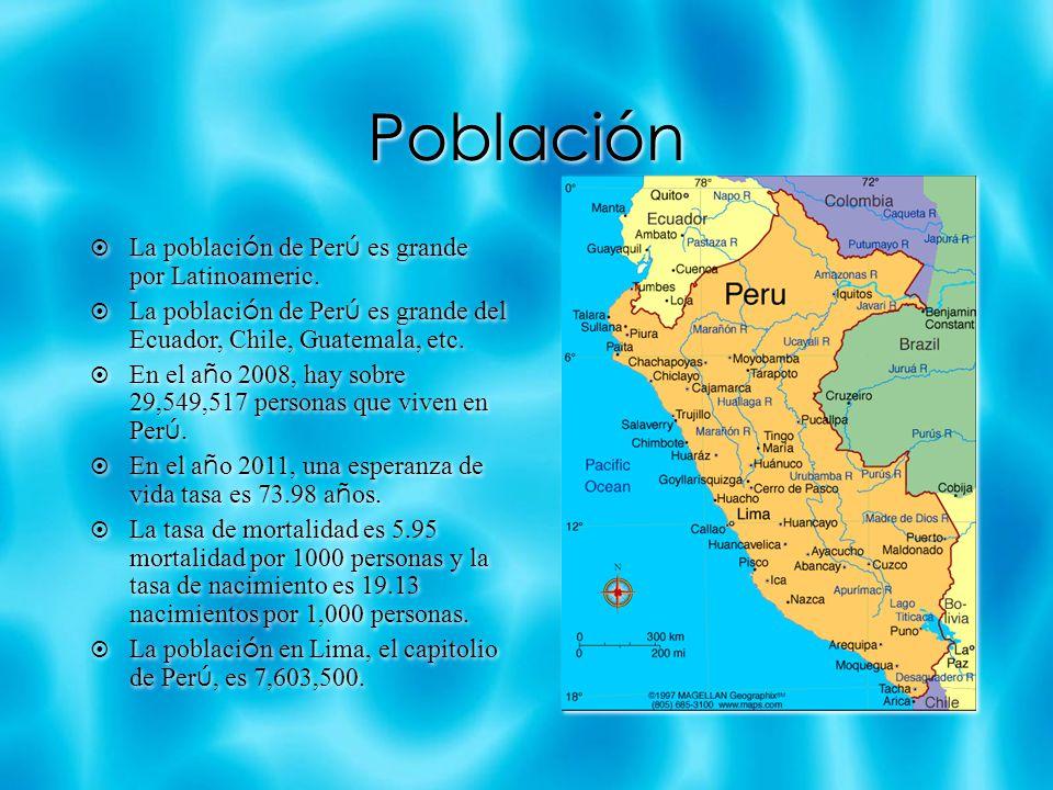 Población La poblaci ó n de Per ú es grande por Latinoameric.