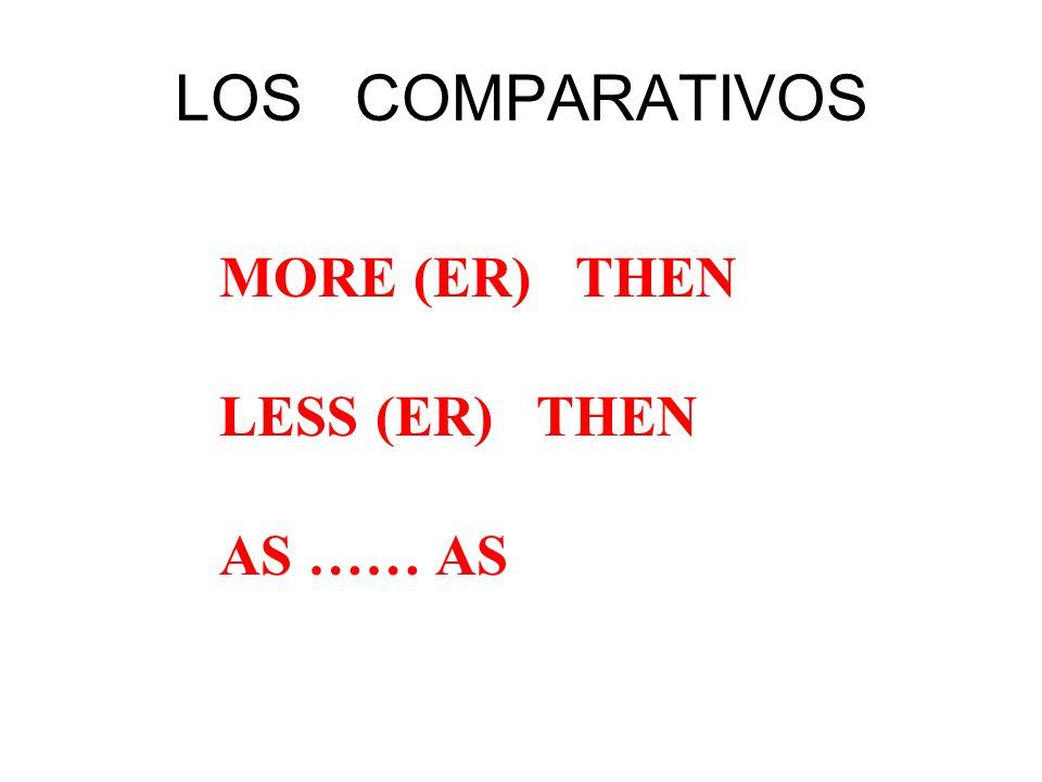 LOS COMPARATIVOS MORE (ER) THEN LESS (ER) THEN AS …… AS