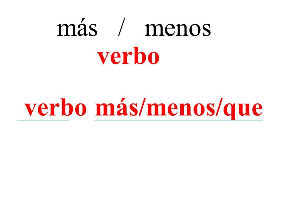 más / menos más/menos/que verbo ____ _____________