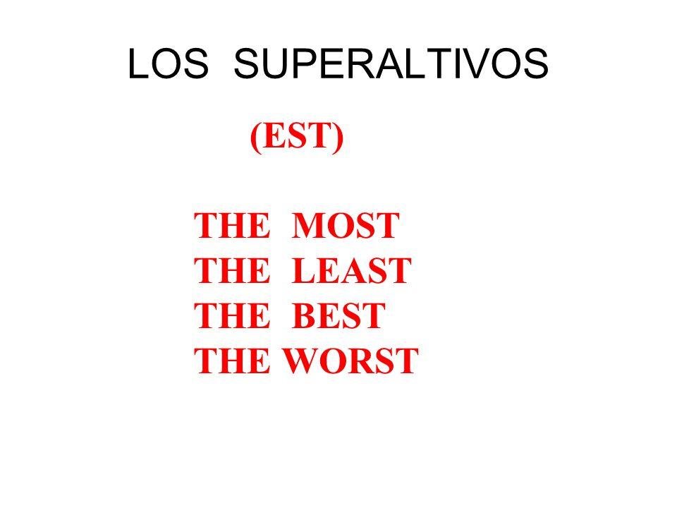 el / la / los / las + (sustantivo) + más / menos / + adjetivo + de Susana is the prettiest girl in the class.
