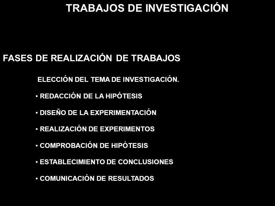ELECCIÓN DEL TEMA DE INVESTIGACIÓN. REDACCIÓN DE LA HIPÓTESIS DISEÑO DE LA EXPERIMENTACIÓN REALIZACIÓN DE EXPERIMENTOS COMPROBACIÓN DE HIPÓTESIS ESTAB